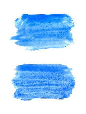 Acuarela abstracta azul sobre fondo blanco.