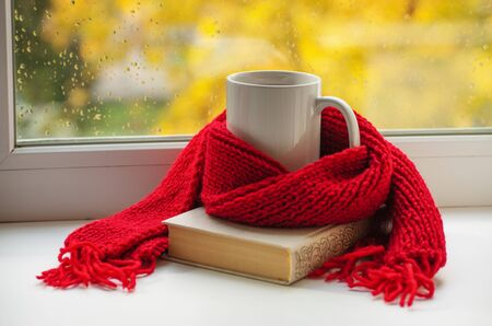 Autumn still life - Warm knitted scarf and cup of tea near a window, copy space.