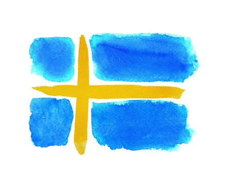 The Swedish flag painted on white paper with watercolor Stock fotó