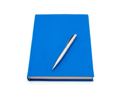 blue diary and pen on a white background