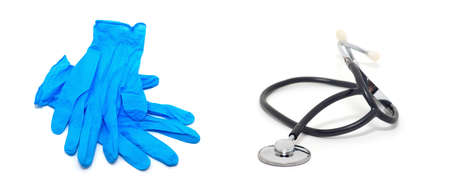 Rubber glove and stethoscope isolated on white background