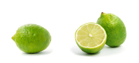 Fresh lime isolated on white Zdjęcie Seryjne