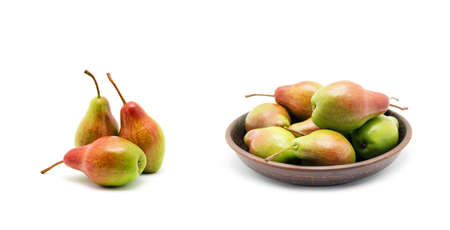Pears in bowl on white background Zdjęcie Seryjne