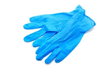 Blue medical gloves on white background