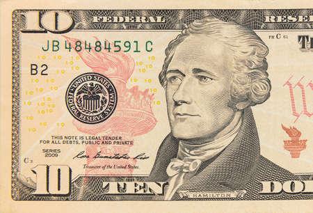 Ten dollar bill 10 usd closeup macro,