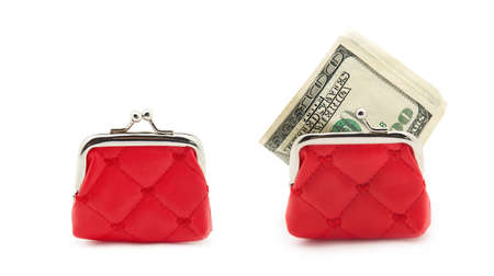Red purse and money isolated on white
