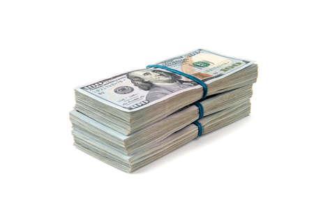 New design dollar bundles isolated on white background. Standard-Bild