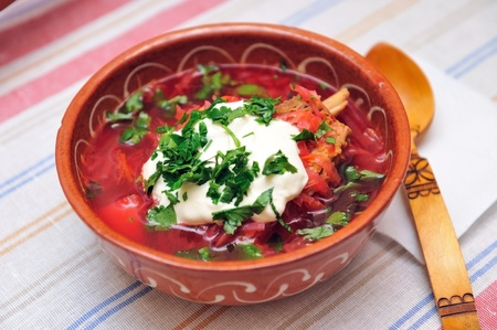 Beetroot soup with meat in ceramic bowl  Stock Photo