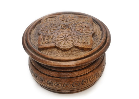 Small box for jewelry, carved out of wood by hand.
