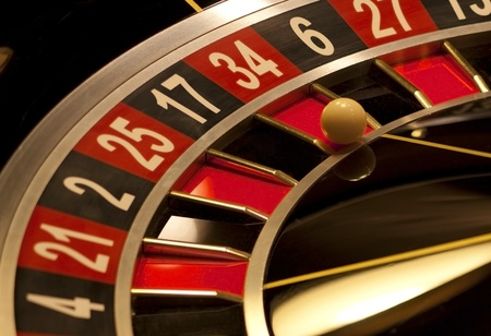 Roulette is stopped,  ball shows  number. Stock Photo