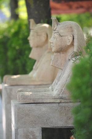 The statues in garden in  form of  sphinx