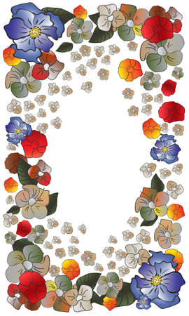 Frame of flowers of various shapes and colors on white. Stock Vector - 19451160