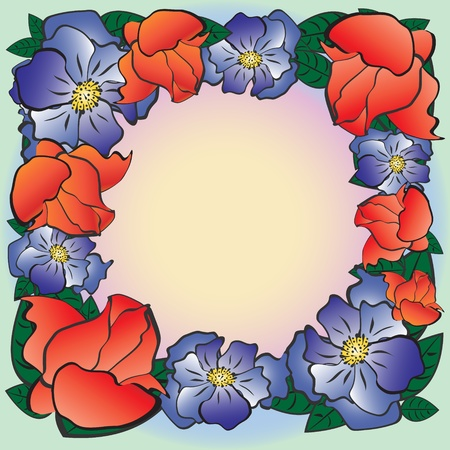 Frame of flowers of various shapes and colors.