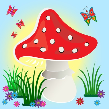 Red fly agaric mushroom on  blue background with flowers and butterflies.
