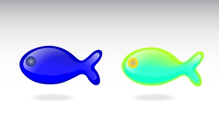 neon fish: Two fish on gray background with shadows. Illustration