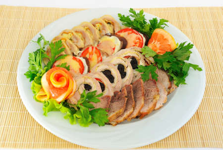 meatloaf: Dish with  meatloaf, sliced  Stock Photo