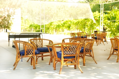 Rotan furniture from the summer playground for recreation  免版税图像