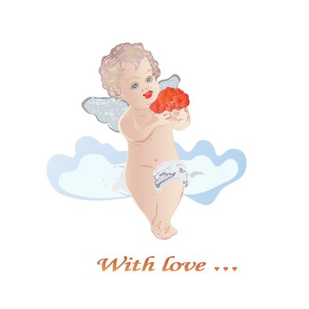 Angel sitting on a cloud with a bouquet of flowers  Vector