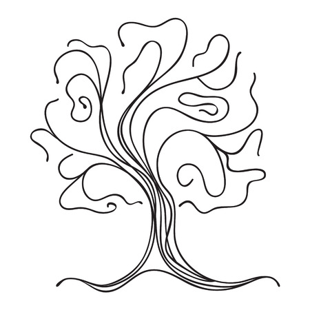 Black silhouette of a tree on a white background  Vector