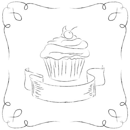 Black and white drawing of a cupcake. Vector
