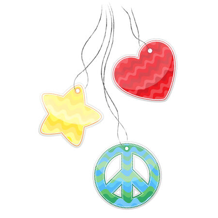 pacifist: Colored stickers in the shape of heart, a pacifist, star hanging on a cord. Illustration