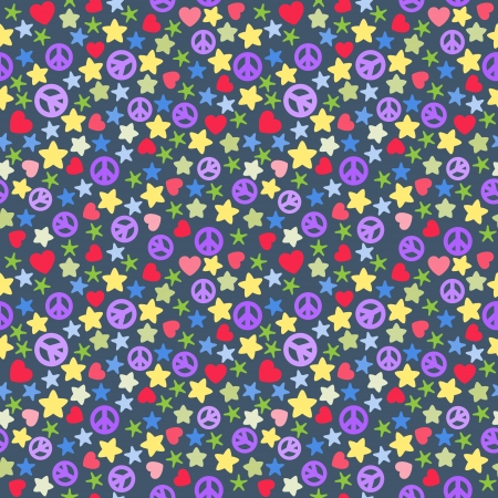 pacifist: Seamless background of colorful stars pieces, pacifist, hearts on dark.