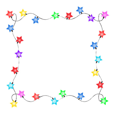 Christmas frame of colored lanterns, vector