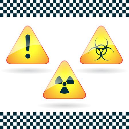 biological waste: Signos-peligro, biohazard, peligro radiactivo.