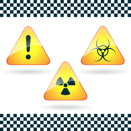 Signs-hazard, biohazard, radioactive danger. Stock Vector - 25417224