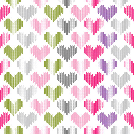 Seamless pattern of colored hearts of loops on white isolated  Vector