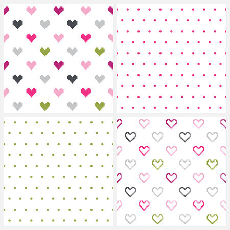 Set of four seamless patterns of hearts and polka dot pattern on white  Vector