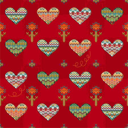 Seamless pattern of hearts and flowers knitting on a burgundy background  Vector