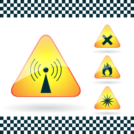 Set of Triangular Warning Hazard Signs radio emission, optical radiation, harmful, flammable Vector