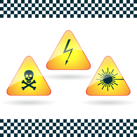 Signs-high voltage, poison; laser  radiation  Vector