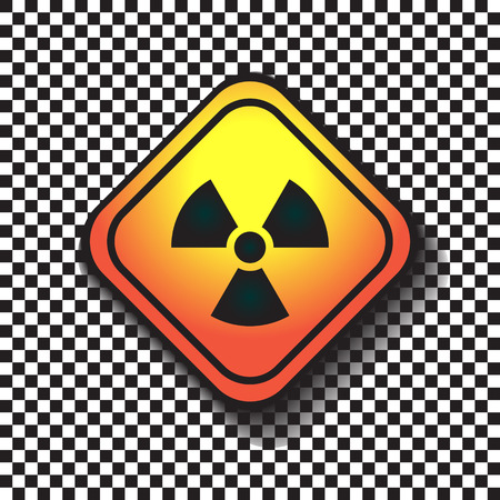 infectious waste: Radiation hazard warning sign on a square table on black and white background. Illustration