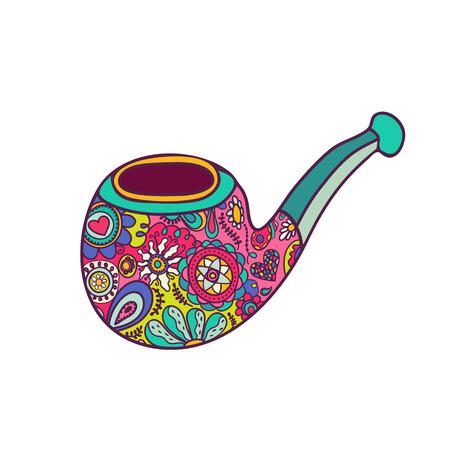 pipe smoking: Helle hipster Pfeife mit Mustern Hand gezeichnet Mode-Illustration gemalt Illustration