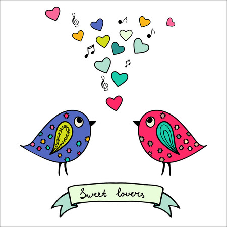 Two colorful birds, hand-drawn with hearts and notes Vector