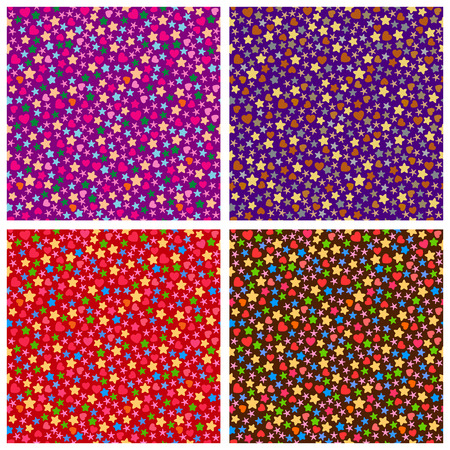 small group of objects: Set of seamless patterns of small elements of different colors  Illustration