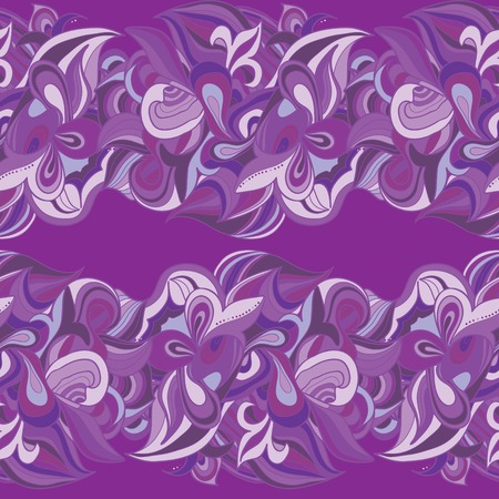 lila: Lila curls in strip . Seamless background Illustration