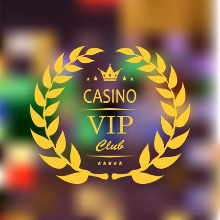vip symbol: S�mbolo VIP en oro con la corona, y laurel sobre fondo borroso casino