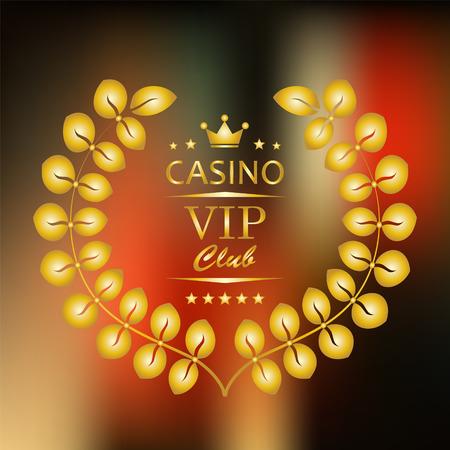 vip symbol: S�mbolo VIP en oro con laurel en fondo borroso