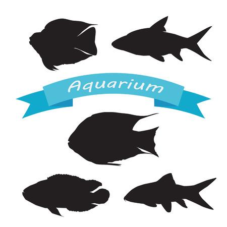 bream: Set of silhouettes of aquarium fish