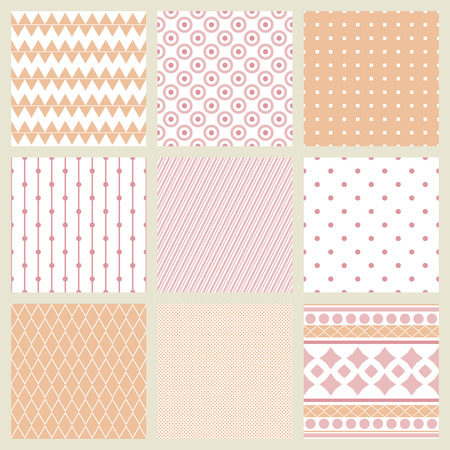 Set of geometric patterns in shades of pale pink. 9 samples. Illustration