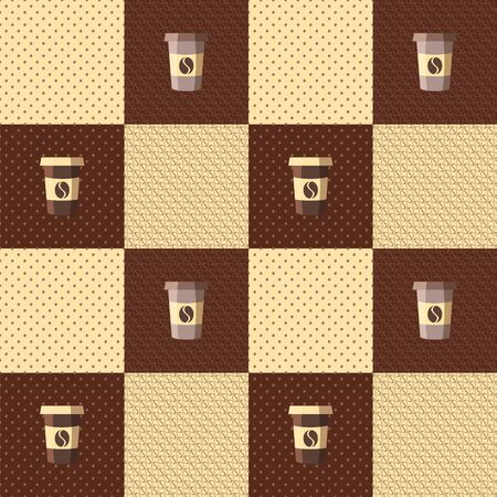 coffee beans background: Seamless patchwork pattern coffee