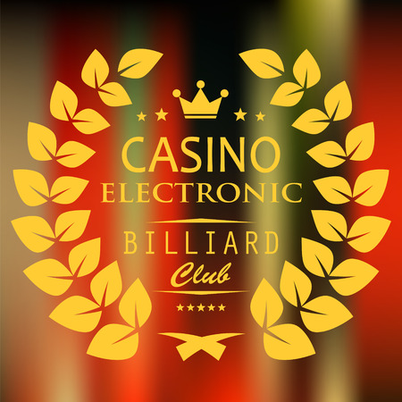 vip badge: Caption electronic casino, billiard club in a laurel wreath on bright blurred background. Illustration