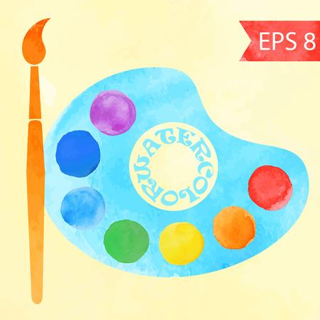 colors paint: Colorful vector watercolor paint circles . Paint brush with palette icon , art palette with seven colors .