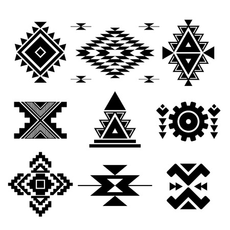 fabric art: Vector abstract black geometric elements isolated on white