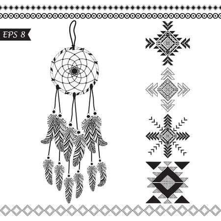 sword and heart: Hand drawn vector tribal elements isolated on white .