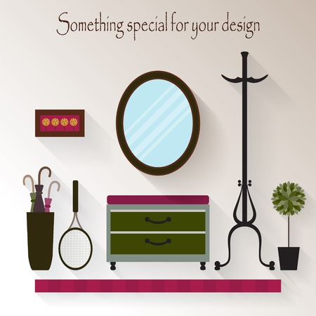 mirror: Hallway interior design.Modern furniture .Flat style vector illustration.