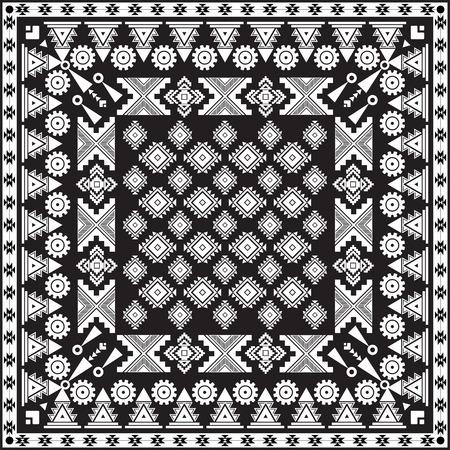 sarong: Black bandana print  with ethnic ornament  . Vector background .